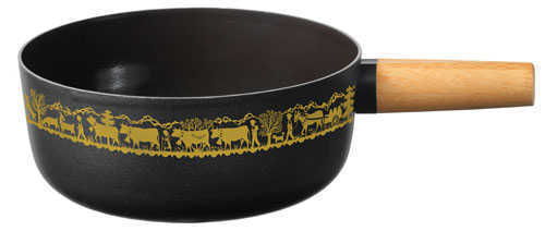 Black Enameled Cheese Fondue Pot