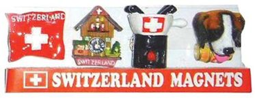 Swiss Images Fridge Magnets - Flag-Chalet-Fondue-Dog