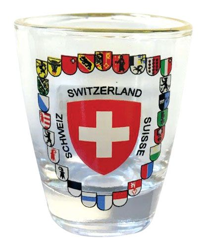 Swiss Cross and Canton Shields Shot Glass