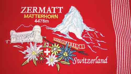 Embroidered Zermatt Matterhorn Kitchen Towel - Red