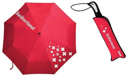 Red Umbrella with Swiss Cross Motif