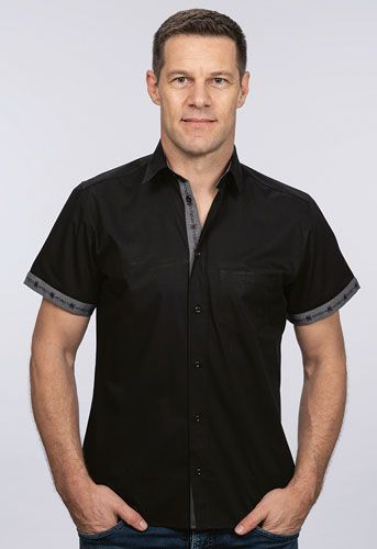 Mens Short-sleeved shirt with Edelweiss Trim
