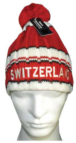 Red-White-Black Striped Knit Hat