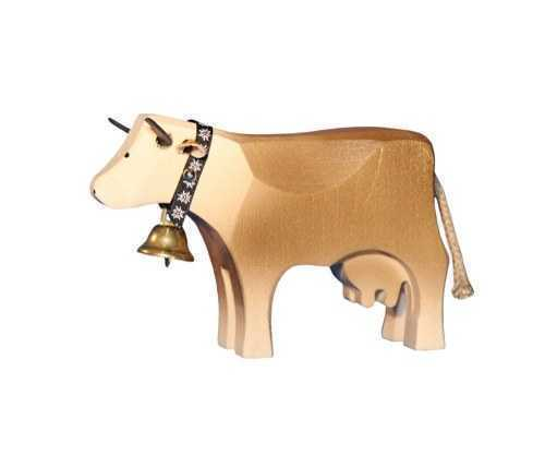 Carved Wooden Standing Brown Swiss Cow