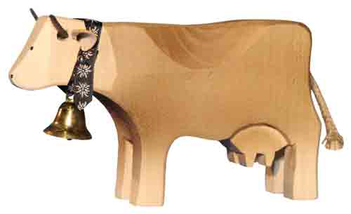 Wood Brown Swiss Cow - Standing