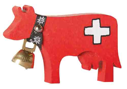 Red Cow with bell and Swiss cross