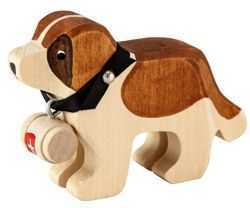 Carved Wooden St. Bernard with Barrel