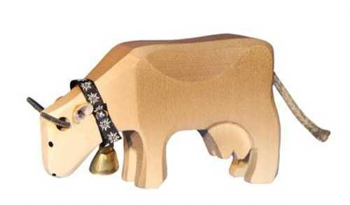 Carved Wooden Grazing Cow-Brown Swiss