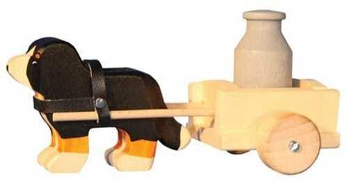 Carved Wooden Bernese Dog with Cart