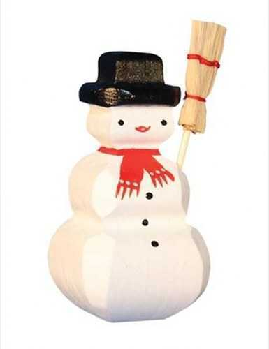 Carved Wooden Snowman Figure
