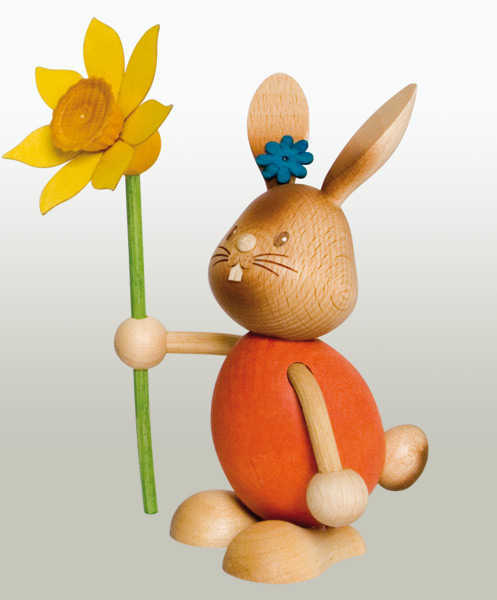 Easter Bunny Rabbit with Daffodil Flower Wooden Figurine